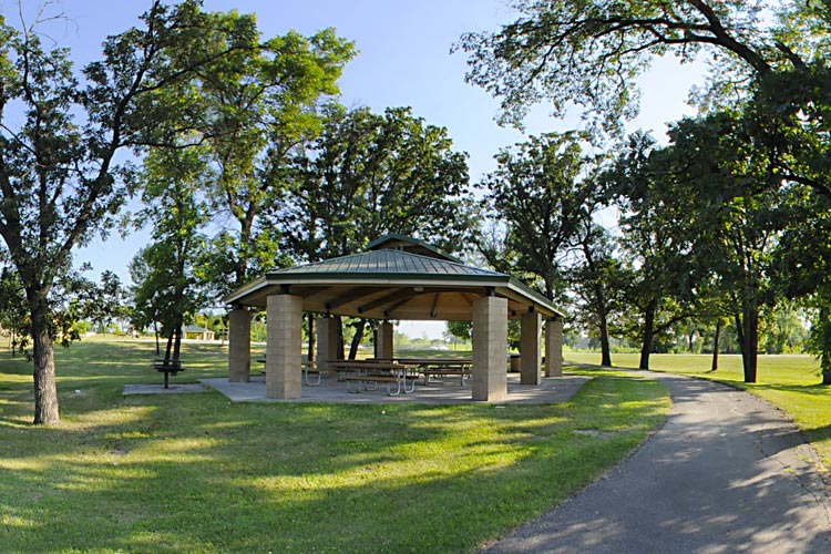 Covered Park Shelter Area with Picnic Tables