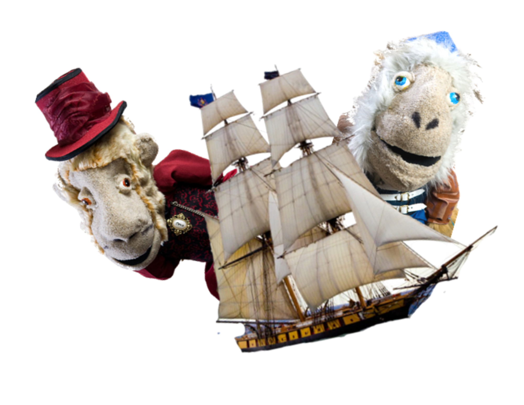 Two monkey puppets dressed as pirates flank an old brig sailing ship